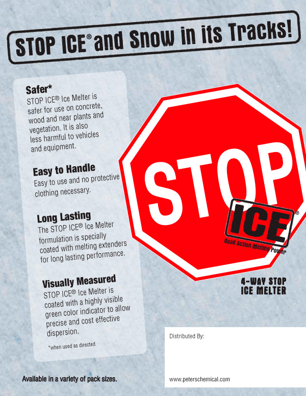 Stop Ice sell sheet 2 - Safer, Easy to Handle, Long Lasting, Visually Measured